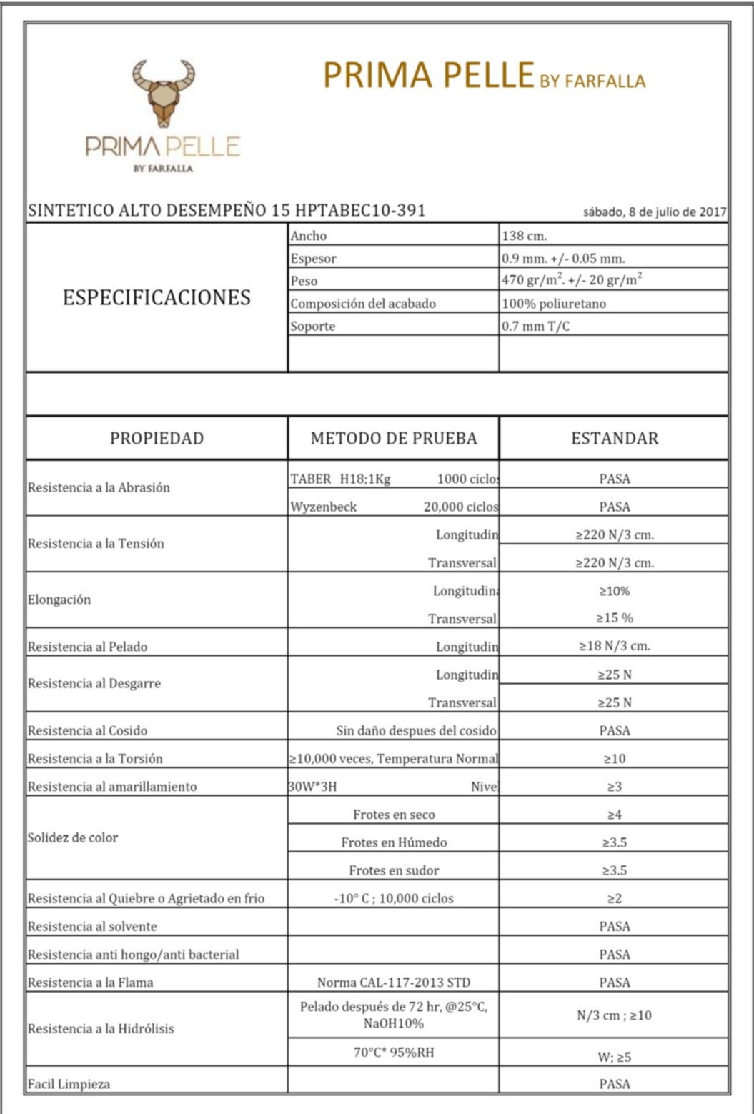 Ficha técnica del sintético de alto desempeño de Prima Pelle